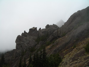 Klahane Ridge in the clouds